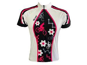 Camisa Ciclismo Mountain Bike Feminina Bike Flores