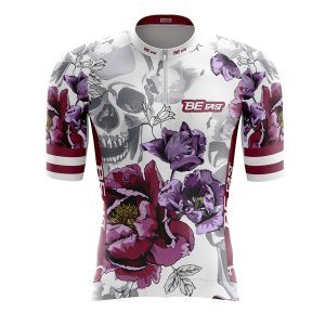 Camisa Ciclismo Mountain Bike Feminina Flores Caveiras