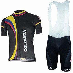 Conjunto Ciclismo MTB Bretelle e Camisa Seleção Colômbia