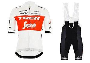 Conjunto Ciclismo Mountain Bike Bretelle e Camisa Trek Segafredo Forro em Gel
