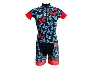Conjunto Ciclismo Feminino Bermuda e Camisa Borboleta
