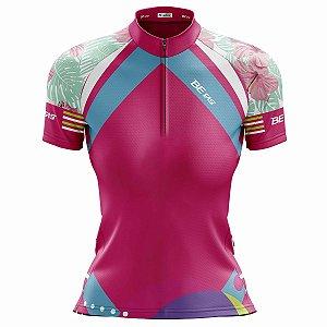 Camisa Ciclismo Mountain Bike Feminina Rosa Tropical