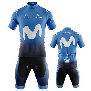 Conjunto Bermuda e Camisa Ciclismo Mountain Bike Movistar