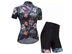 Conjunto Ciclismo Bermuda e Camisa Flores Forro em Gel