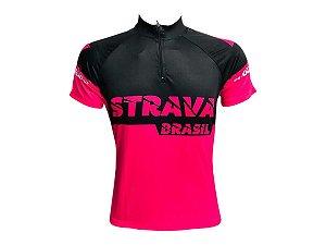 Camisa Ciclismo Mountain Bike Feminina Strava Rosa