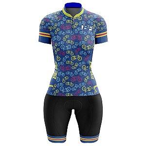 Conjunto Ciclismo Moutain Bike Feminino Bermuda e Camisa Bicicleta Azul