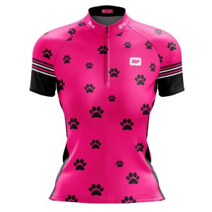 Camisa Ciclismo Moutain Bike Feminina Rosa Patinhas