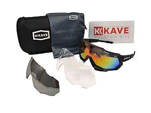 Óculos Ciclismo Mountain Bike Kave Preto 3 Lentes