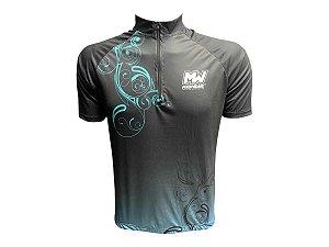 Camisa Ciclismo Mountain Bike Feminina Floral Azul