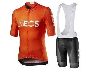 Conjunto Ciclismo Bretelle e Camisa Ineos Forro em Gel