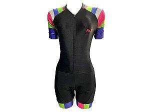 Macaquinho Ciclismo Feminino Pro Tour Listras Color Forro em Gel