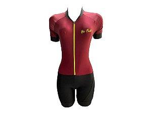Macaquinho Ciclismo Feminino Pro Tour Vinho