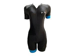 Macaquinho Ciclismo Feminino Be Fast Preto / Azul