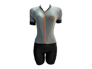 Macaquinho Ciclismo Feminino Cinza Zíper Laranja