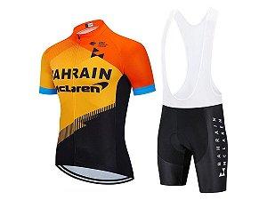 Conjunto Ciclismo Bahrain Bretelle e Camisa Forro em Gel