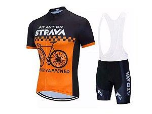 Conjunto Ciclismo Strava Bretelle e Camisa Forro em Gel