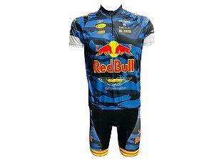 Conjunto Ciclismo Mountain Bike Red Bull Camuflado Bermuda e Camisa