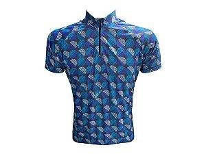 Camisa Ciclismo Masculina Bolinhas Riscadas Manga Curta