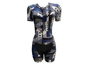 Macaquinho Ciclismo Feminino Quadrados Azuis