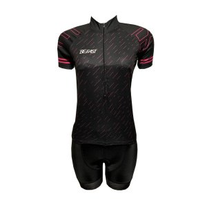 Conjunto Ciclismo Feminino Bermuda e Camisa Giz Rosa