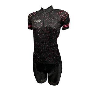 Conjunto Ciclismo Feminino Bermuda e Camisa Giz Rosa MOD 21
