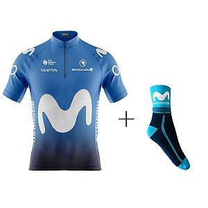 Kit Ciclismo Camiseta Movistar Com Meia
