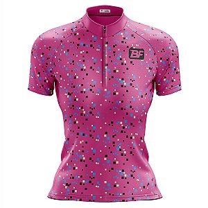 Camisa Ciclismo Mountain Bike Feminina Confete Rosa