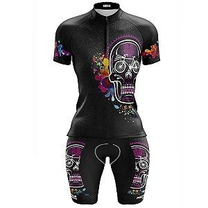 Conjunto Bermuda e Camisa Ciclismo Feminino Pro Tour Caveira Mexicana