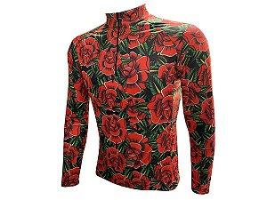 Camisa Ciclismo Mountain Bike Rosas Vermelhas ml