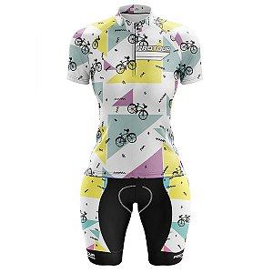 Conjunto Bermuda e Camisa Ciclismo Feminino Pro Tour Bicicletinhas