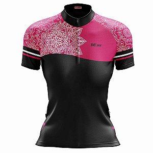Camisa Ciclismo Mountain Bike Feminina Mandala Rosa