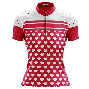 Camisa Ciclismo Mountain Bike Feminina Corações Rosa