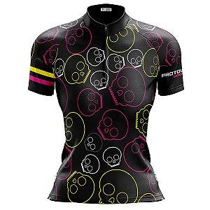 Camisa Ciclismo Mountain Bike Feminina Pro Tour Caveiras