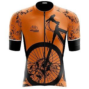 Camisa Ciclismo Pro Tour Premium Bike Laranja Zíper Abertura Total