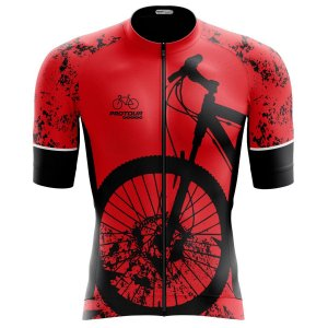 Camisa Ciclismo Pro Tour Premium Bike Vermelha Zíper Abertura Total