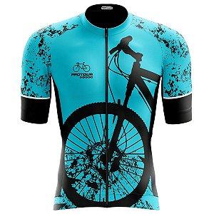 Camisa Ciclismo Pro Tour Premium Bike Azul Zíper Abertura Total