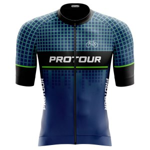 Camisa Ciclismo Pro Tour Premium Quadriculada Zíper Abertura Total