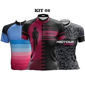 Kit 3 camisas ciclismo Feminino manga curta