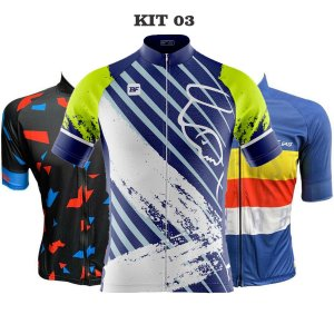 Kit 3 camisas ciclismo Zíper total Masculinas manga curta