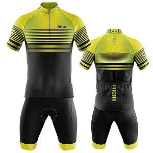 Conjunto Masculino Ciclismo Mountain Beermuda e Camisa Be Fast Flúor