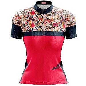 Camisa Ciclismo Mountain Bike Feminina Onça Abstrata