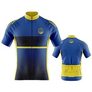 Camisa Ciclismo Pro Tour Preta Azul e Amarelo Premium Zíper Abertura Total