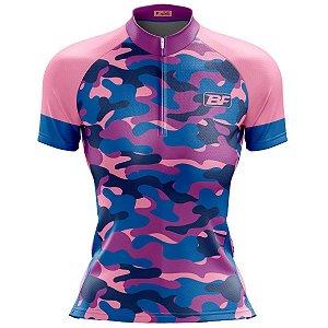 Camisa Ciclismo Mountain Bike Feminina Camuflada