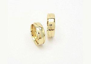 Par de Alianças ouro 18k com Diamante