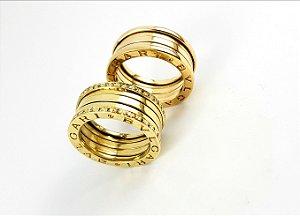 Par de alianças ouro 18k com diamantes Bvlgari