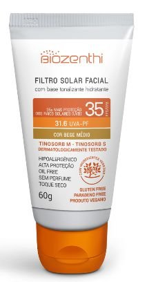 BIOZENTHI - Filtro Solar Fps 35 Uva-Pf 31.6 Bege Médio - 60g - Hipoalergênico - Natural - Vegano