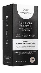 BIOZENTHI - Base Facial Hidratante Cor Bege Nude 30ml - Hipoalergênica Natural Vegana Sem Glúten