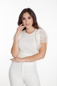 Blusa Cropped Babados Off White