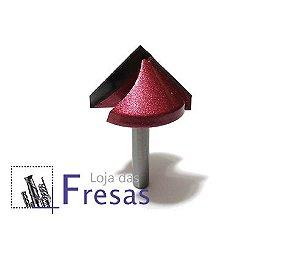 Fresa v-carving 2 cortes retos 90 graus - Metal duro