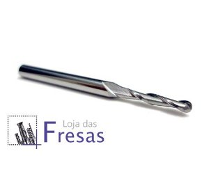 Fresa ball nose de 2 cortes helicoidais - 2mm - Metal duro